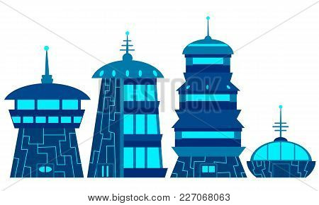 Set Of The Future House. Flat Design. Vector Illustration