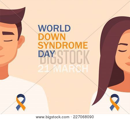 World Down Syndrome Day Card 21 March. Vector Cartoon Woman And Man Blue And Yellow Ribbon World Dow