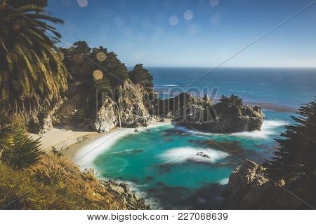 Classic Postcard View Of Famous Mcway Falls In Scenic Golden Evening Light At Sunset On A Beautiful