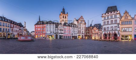 Panoramic View Of The Historic City Center Of Trier With Famous Hauptmarkt Market Square And St. Gan