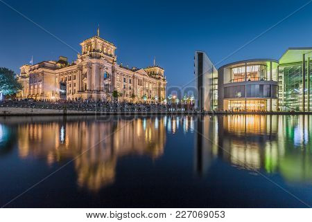 Panoramic View Of Modern Berlin Government District With Famous Reichstag Building And Spree River I