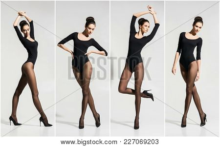 Young And Beautiful Fashion Model Posing In Stockings And Lingerie Over White Background. Set Collec