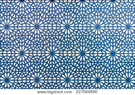 Arabic Style Pattern Using Blue Lines On White Background. Sticker On A Wall.
