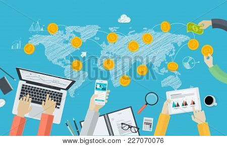 Digital Currency Exchange. Flat Design Style Web Banner Of Blockchain Technology, Bitcoin, Altcoins,