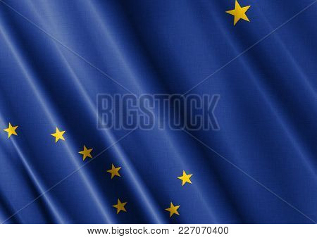 Us State Alaska Textured Proud Country Waving Flag Close