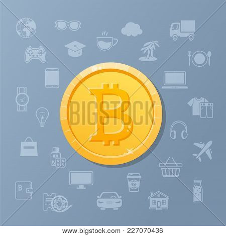 Golden Coin Bitcoin With Set Of Service Icons. Electronic Means Of Payment. Cryptocurrency Capitaliz