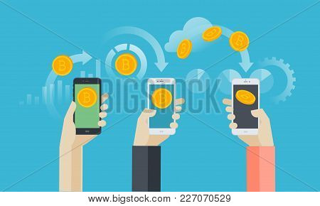 Mobile Bitcoin Wallet. Flat Design Style Web Banner Of Blockchain Technology, Bitcoin, Altcoins, Cry