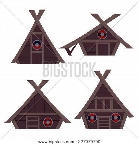Set Viking House. Flat Design. Vector Illustration