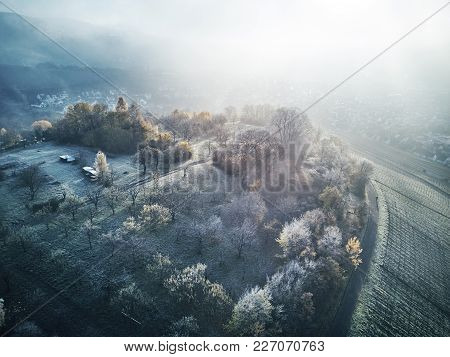 Aerial Snow Covered Trees Drone Footage Landscape Winter Nature Beautiful Europe Forest Mountain Tra