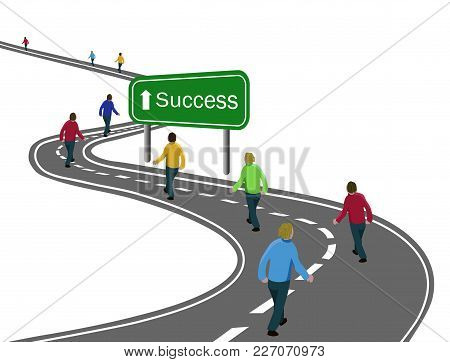 Group Of Men Walking On Curved Asphalt Road Highway To The Green Sign Success With White Arrow Conce