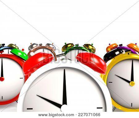 Colorful alarm clocks. 3D Rendering