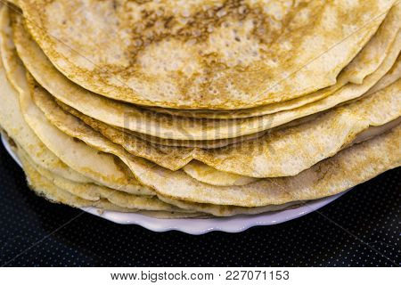 Pancakes For Carnival On A Plate, Traditional Food