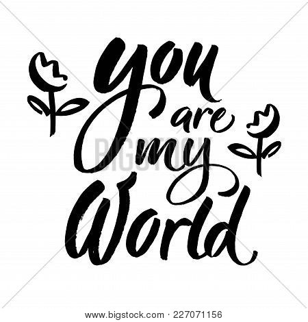 You Are My World Phrase. Romantic Lettering. Ink Illustration. Modern Brush Calligraphy. Isolated On