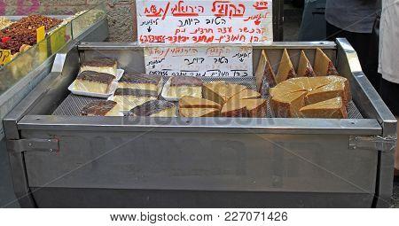 Jerusalem, Israel - December 1, 2017: Stall With Cakes At Machane Yehuda Market In Jerusalem, Israel