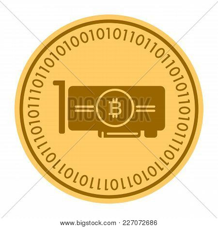 Videocard Golden Digital Coin Icon. Vector Style Is A Gold Yellow Flat Coin Cryptocurrency Symbol. E