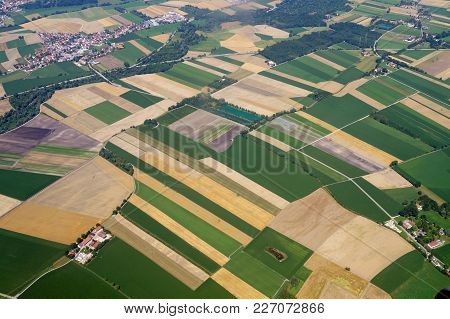 Panorama Of Large Fields, View Of A Small Town From A Bird's Eye View