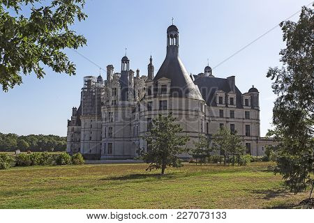 Loire Valley, France - August 10, 2016: View Of The Chambord Chateau, Loire Valley, France (castles,