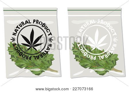 Marijuana Bud Bag  With Label Natural Product Over It