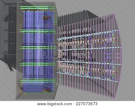 3D Project Of Reconstruction And Construction Of Buildings Made Of Metal Structures. Transparent Wal