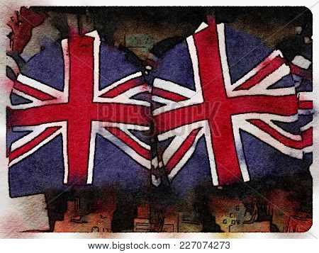 Digital Watercolor Painting Of Tea Cosies With The Uk Flag On Them, Hanging Up For Sale.