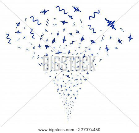 Audio Signal Stream Fountain. Vector Illustration Style Is Flat Iconic Symbols. Object Fountain Made