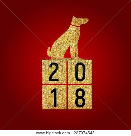 2018 Year Of Dog. Happpy New Year Background. Vector Illustration Eps10