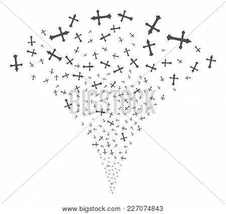 Christian Cross Exploding Fountain. Vector Illustration Style Is Flat Iconic Symbols. Object Fountai
