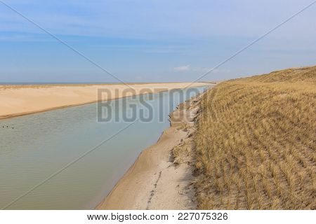 Ecofriendly Dike Along The North Sea Coast In The Netherlands