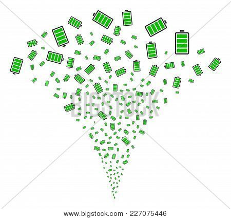 Electric Battery Stream Fountain. Vector Illustration Style Is Flat Iconic Symbols. Object Fountain