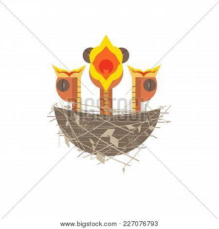 Baby Birds In Nest Icon. Cute Comic Cartoon. Newborn Hungry Bird Sitting In Straw Nest. Minimalism S