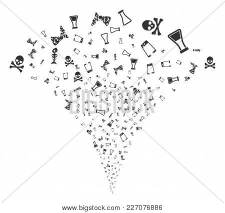 Toxic Trash Fireworks Fountain. Vector Illustration Style Is Flat Iconic Symbols. Object Fountain Do
