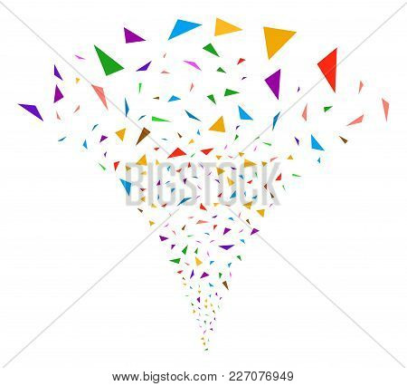 Triangular Fragments Exploding Fountain. Vector Illustration Style Is Flat Iconic Symbols. Object Fo