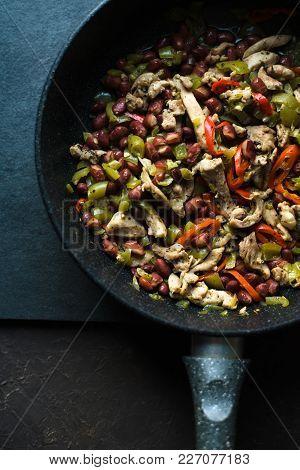 Frying Pan With Ready Fajita Closeup. Mexican Cuisine Vertical
