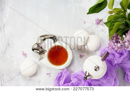 Relaxation Time Concept. Homemade Zephyr With Cup Of Tea On A Cozy Kitchen Table. Copy Space, Top Vi