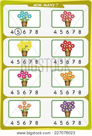 Worksheet For Preschool Children, Count The Number Of Objects, Learn The Numbers 1, 2, 3 4 5 6 7 8