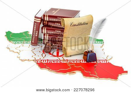 Constitution Of Iran Concept, 3d Rendering Isolated On White Background