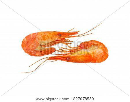 Shrimps Boiled Frozen On A White Background. Seafood. Cooked Shrimp.  Prawns.