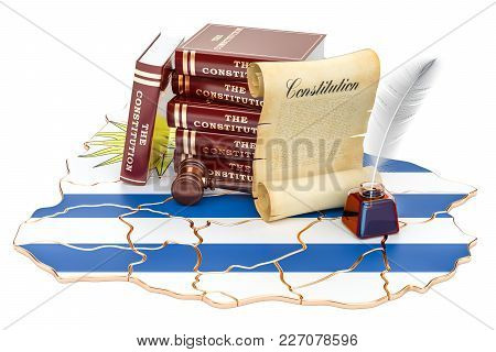 Constitution Of Uruguay Concept, 3d Rendering Isolated On White Background