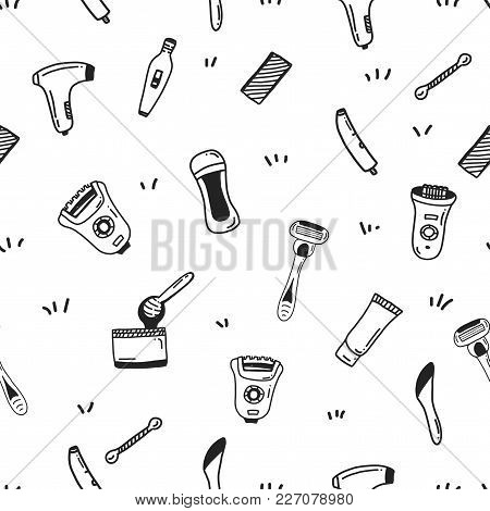 Hair Removal Seamless Pattern With Flat Line Icons. Types Of Epilation For Site Background, Business