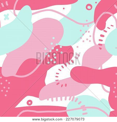 Fluid Bold Shapes Seamless Pattern. Abstract Design With Colorful Elements. Chaotic Stains In Pink C