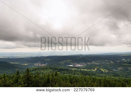 Beautiful Summer Forest View From Pajndl Lookout Tower, Krusne Hory