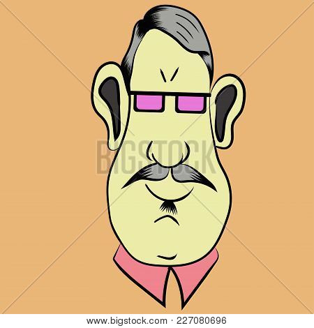 Portrait Of A Funny Cartoon Man With Moustache And Glasses