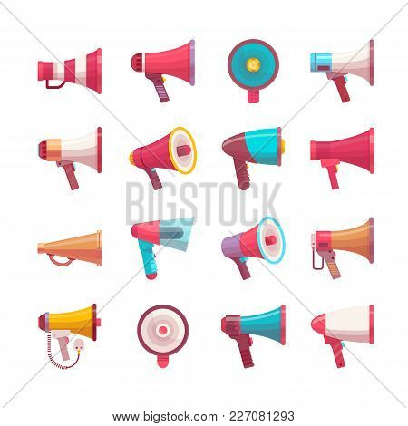 Vector Mega-phone Voice Volume Speaker Control Megaphone Flat Voice Speaking Illustration Different