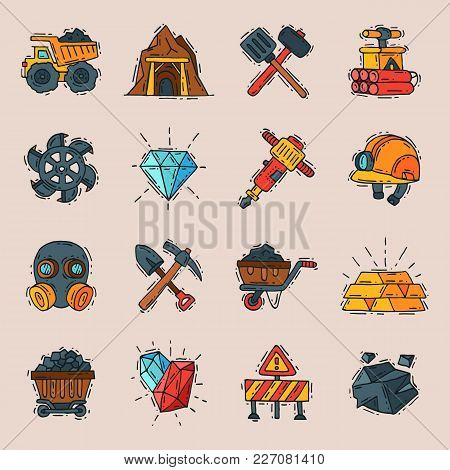 Coal Vector Mining Engineering Industry Work Business Construction Factory Line Mine Icons Illustrat