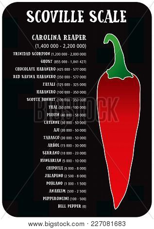 Scoville Hot Pepper Heat Unit Scale Vector Illustration