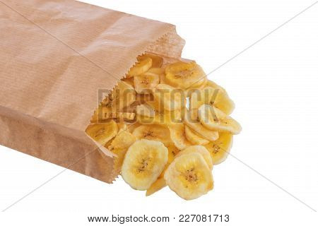 Banana Chips In A Packet Isolated On A White Background.