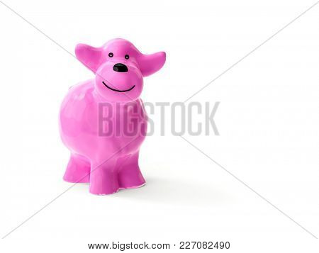 3d illustration of a sweet little pink ceramic sheep