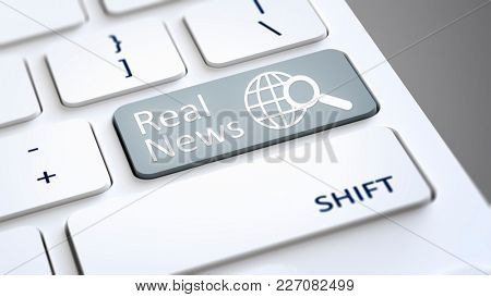 3d illustration of a computer keyboard with text Real News