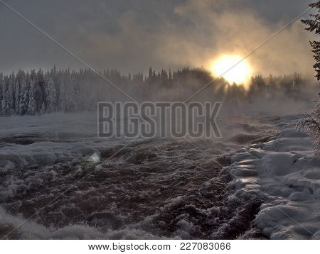 Storforsen, Biggest Waterfall In The North Of Sweden In Winter