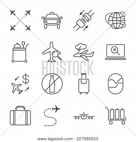Airport Icon Set. Universal Airport And Air Travel Icons. Airway, Luggage, Food, Airplane, Seat Belt